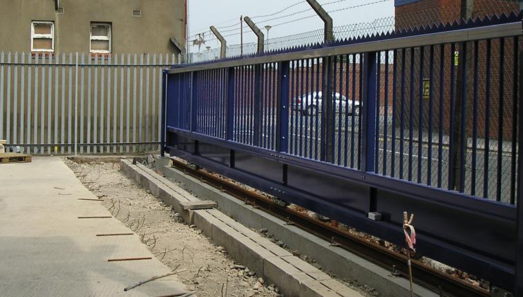 manual sliding gate in blue