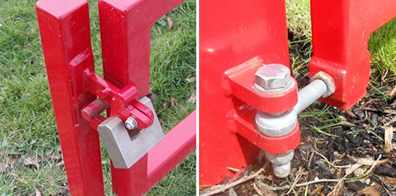 Manual swing barrier is supplied with two locking posts as standard