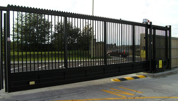 sliding security gate in black